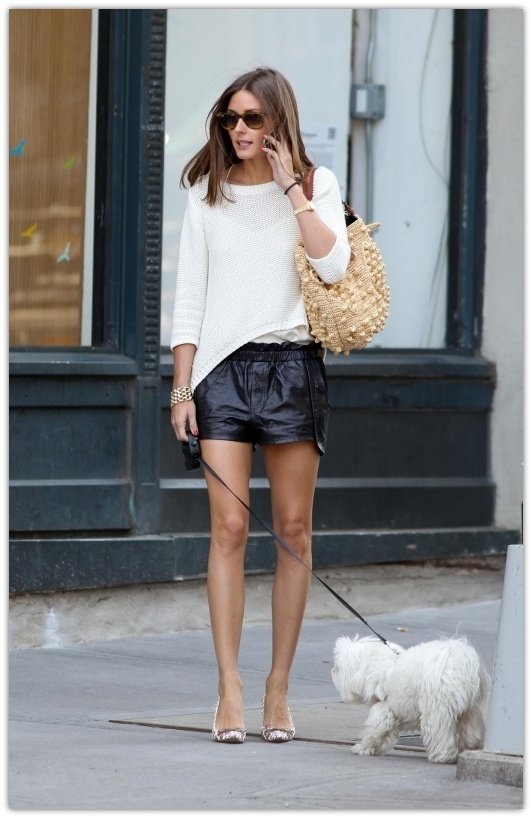 leather shorts- olivia palermo