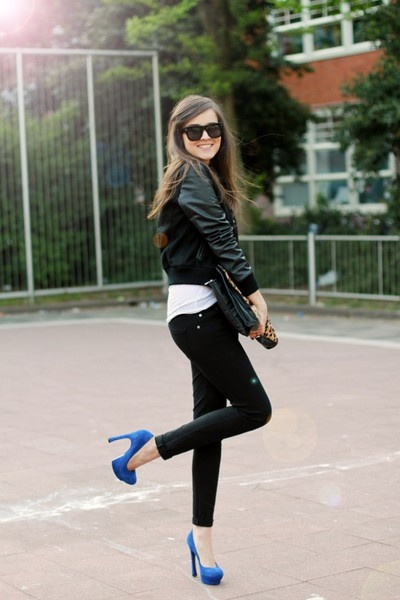 blue shoes with leather